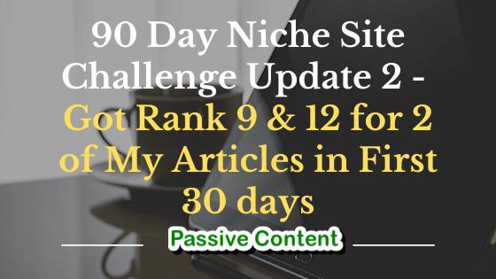 90 Daye Niche Site Challenge Update 2