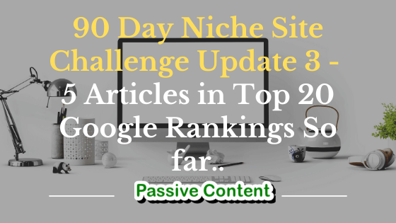 90 Day Niche Site Challenge Update 3