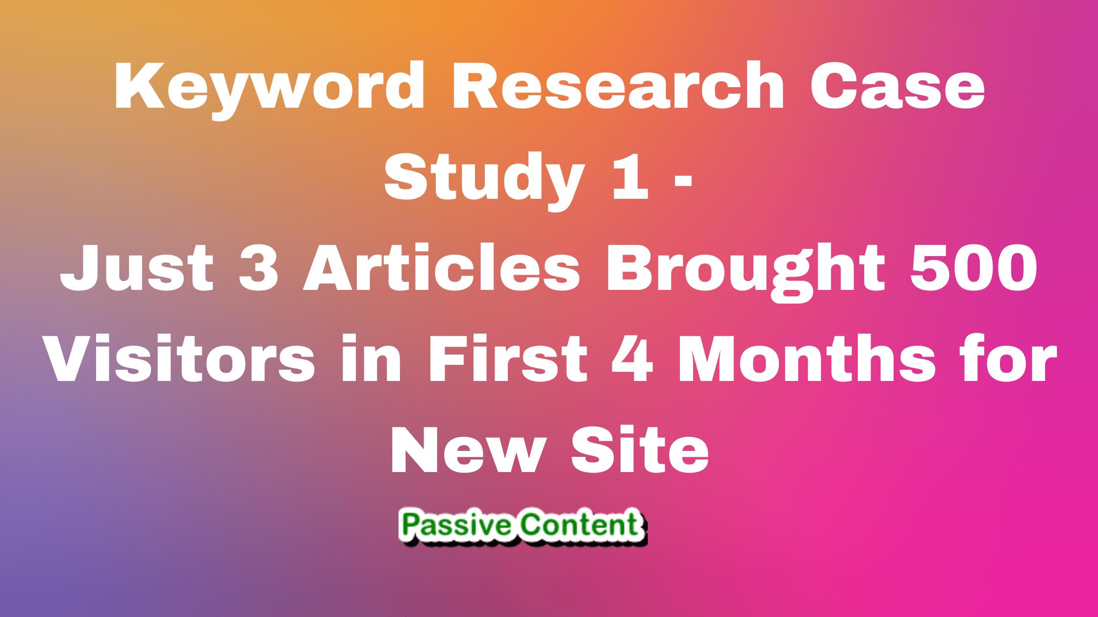 keyword research case study 1